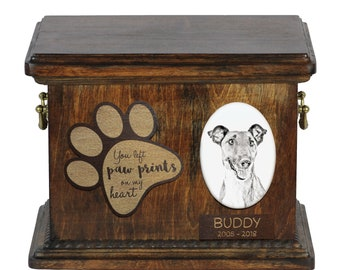 Urn for dog's ashes with ceramic plate and description - Smooth Fox Terrier, ART-DOG