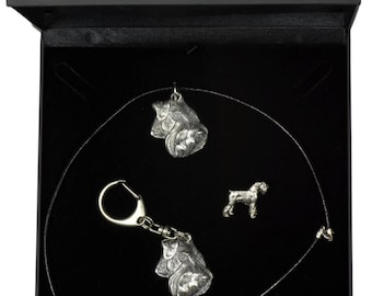 NEW, Schnauzer, dog keyring, necklace and pin in casket, DELUXE set, limited edition, ArtDog . Dog keyring for dog lovers