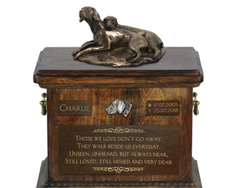 Weimaraner paur - Exclusive Urn for dog ashes with a statue, relief and inscription. ART-DOG. Cremation box, Custom urn.