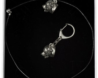 NEW, Rottweiler, dog keyring and necklace in casket, ELEGANCE set, limited edition, ArtDog . Dog keyring for dog lovers