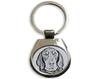 Black and tan coonhound - NEW collection of keyrings with images of purebred dogs, unique gift, sublimation . Dog keyring for dog lovers