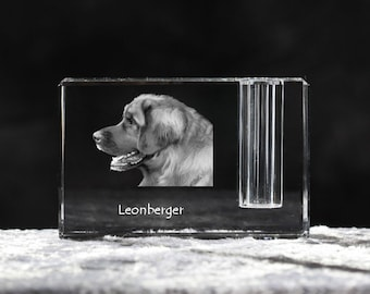 Leonberger, crystal pen holder with dog, souvenir, decoration, limited edition, Collection