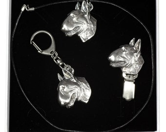 NEW, Bull Terrier, dog keyring, necklace and clipring in casket, ELEGANCE set, limited edition, ArtDog . Dog keyring for dog lovers
