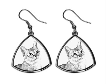 Singapura, collection of earrings with images of purebred cats, unique gift. Collection!