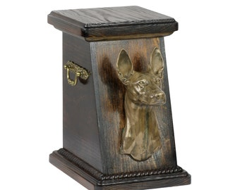 Urn for dog's ashes with a Pharaoh Hound, ART-DOG Cremation box, Custom urn.