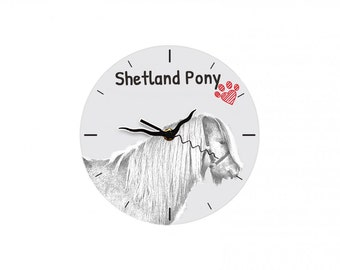 Shetland pony, Free standing MDF floor clock with an image of a horse.