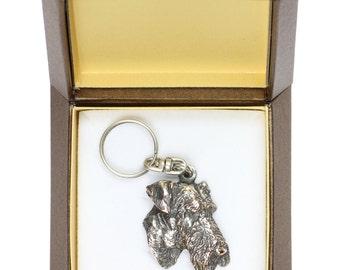 NEW, Airedale Terrier, dog keyring, key holder, in casket, limited edition, ArtDog . Dog keyring for dog lovers