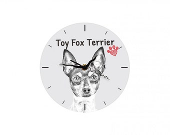 Toy Fox Terrier, Free standing MDF floor clock with an image of a dog.