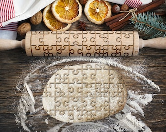PUZZLES. Engraved rolling pin for Cookies, Embossing Rollingpin, Laser Engraved Rolling-pin. Decorating Roller