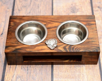 A dog's bowls with a relief from ARTDOG collection -Rhodesian Ridgeback