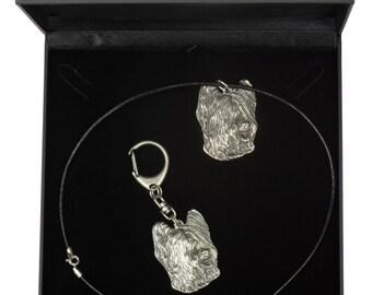 NEW, Briard, dog keyring and necklace in casket, DELUXE set, limited edition, ArtDog . Dog keyring for dog lovers