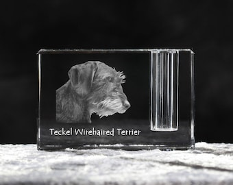 Dachshund wirehaired, crystal pen holder with dog, souvenir, decoration, limited edition, Collection