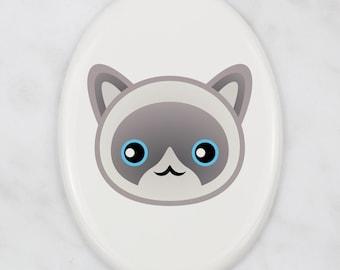 A ceramic tombstone plaque with a Ragdoll cat. Art-Dog cute cat