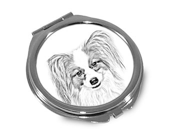 Papillon- Pocket mirror with the image of a dog.