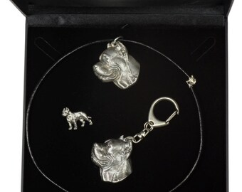NEW, Cane Corso, dog keyring, necklace and pin in casket, DELUXE set, limited edition, ArtDog . Dog keyring for dog lovers