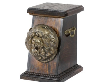 Urn for dog's ashes with a Chow chow statue, ART-DOG Cremation box, Custom urn. Cremation box, Custom urn.