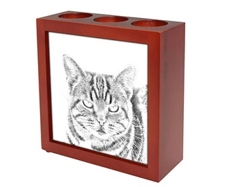 Manx  - Wooden stand for candles/pens with the image of a cat ! NEW COLLECTION!
