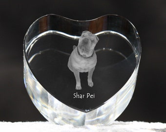 Shar-Pei, crystal heart with dog, souvenir, decoration, limited edition, Collection