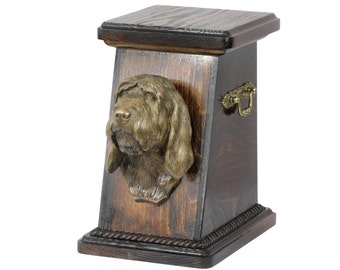 Urn for dog's ashes with a Basset Vendeen statue, ART-DOG Cremation box, Custom urn. Cremation box, Custom urn.