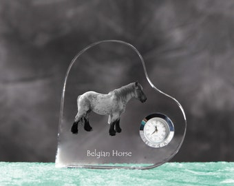 Belgian horse, Belgian draft horse - crystal clock in the shape of a heart with the image of a pure-bred horse.