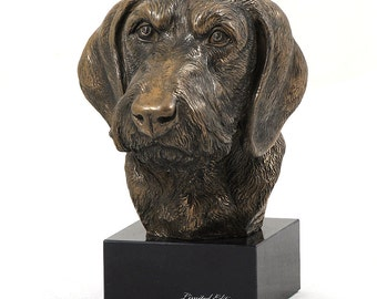 Dachshund Wirehaired, dog marble statue, limited edition, ArtDog. Made of cold cast bronze. Perfect gift. Limited edition