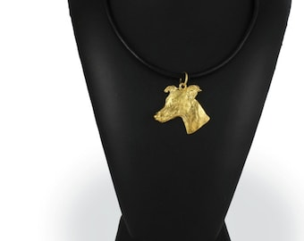 Whippet, millesimal fineness 999, dog necklace, limited edition, ArtDog