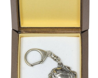 NEW, Staffordshire Bull Terrier, dog keyring, key holder, in casket, limited edition, ArtDog . Dog keyring for dog lovers