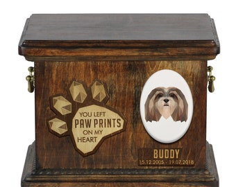 Urn for dog ashes with ceramic plate and sentence - Geometric Lhasa Apso, ART-DOG. Cremation box, Custom urn.