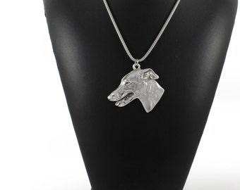 NEW, Grey Hound,  English Greyhound, dog necklace, silver chain 925, limited edition, ArtDog