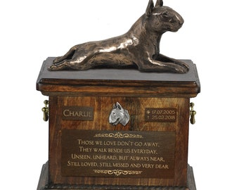 Bull Terrier lying - Exclusive Urn for dog ashes with a statue, relief and inscription. ART-DOG. Cremation box, Custom urn.