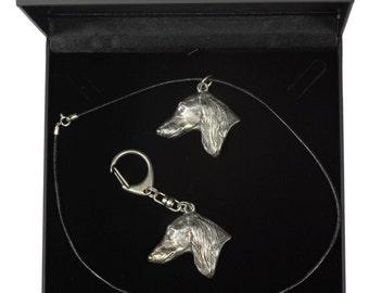 NEW, Saluki, Royal Dog of Egypt, Persian Greyhound, Gazelle Hound, dog keyring and necklace in casket, DELUXE set, limited edition, ArtDog