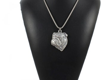 NEW, Bulldog, dog necklace, silver cord 925, limited edition, ArtDog
