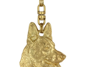 German Shepherd, millesimal fineness 999, dog keyring, keychain, limited edition, ArtDog
