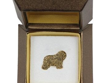 NEW, Polish Lowland Sheepdog, dog pin, in casket, gold plated, limited edition, ArtDog