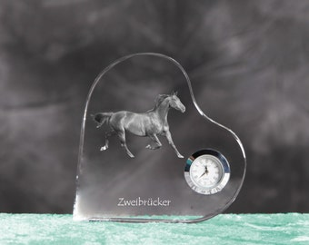 Zweibrücker- crystal clock in the shape of a heart with the image of a pure-bred horse.