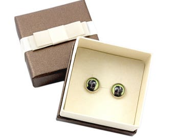 Neapolitan Mastiff. Pet in your ear. Earrings with box. Photojewelry. Handmade.