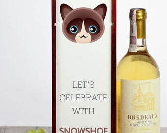Let's celebrate with Snowshoe cat. A wine box with the cute Art-Dog cat
