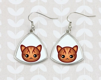 Earrings with a Bengal cat. A new collection with the cute Art-dog cat