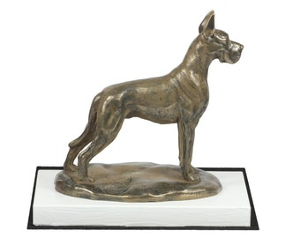 Great Dane, dog on white wooden base statue, limited edition, ArtDog