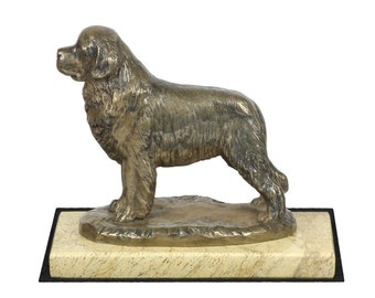 Newfoundland, dog sand marble base statue, limited edition, ArtDog. Made of cold cast bronze. Perfect gift. Limited edition