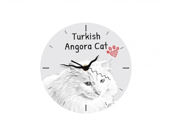 Turkish Angora, Free standing MDF floor clock with an image of a cat.
