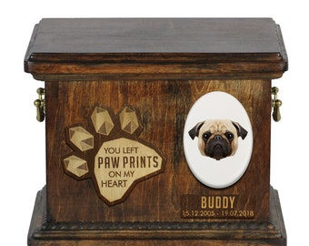 Urn for dog ashes with ceramic plate and sentence - Geometric Pug, ART-DOG. Cremation box, Custom urn.