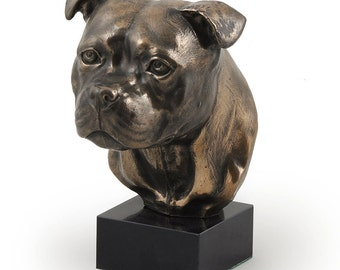 Staffordshire Bull Terrier, dog marble statue, limited edition, ArtDog. Made of cold cast bronze. Solid, perfect gift. Limited edition.