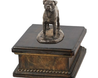 Exclusive Urn for dog's ashes with a Bullmastiff statue, ART-DOG. New model Cremation box, Custom urn.