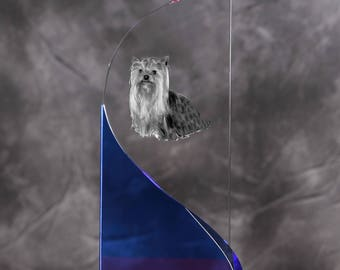 Yorkshire Terrier- crystal statue in the likeness of the dog