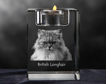 British longhair, crystal candlestick with cat, souvenir, decoration, limited edition, Collection