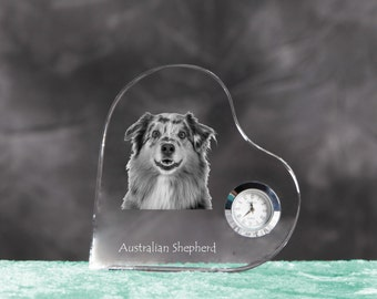 Australian Shepherd- crystal clock in the shape of a heart with the image of a pure-bred dog.