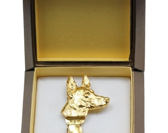 NEW, Pharaoh Hound, millesimal fineness 999, dog clipring, in casket, dog show ring clip/number holder, limited edition, ArtDog
