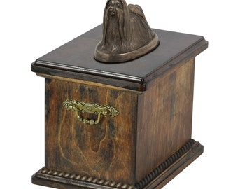 Urn for dog's ashes with a Maltese dog statue, ART-DOG Cremation box, Custom urn.