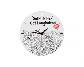 Selkirk rex longhaired, Free standing MDF floor clock with an image of a cat.